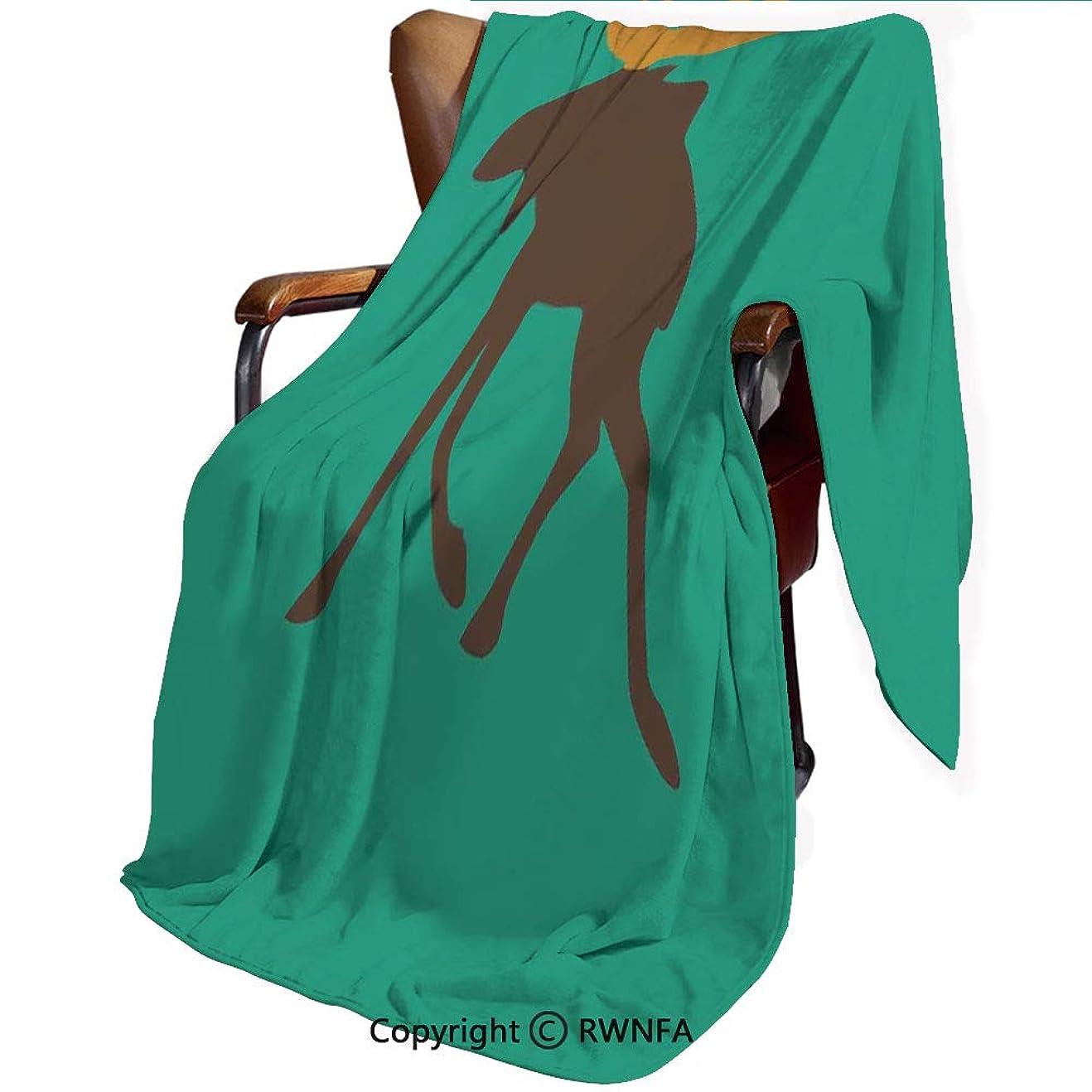 生命体換気するここに140*200cm 印刷者 毛布 シングル ネイビー マイヤー毛布 プレミアム マイクロファイバー 軽い 発熱効果 セミダブル 防寒毛布 洗濯OK 冷房対策 通年使 ムース 鹿の角のイラスト鹿家族芸術的なデザイン 海緑茶色のかわいい生き物