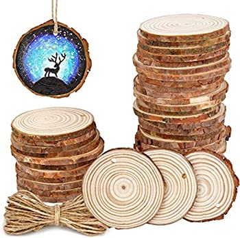 30Pcs 2.4 -2.8  Natural Wooden Slices,Colovis Unfinished Wood Circles with Holes Tree Bark Round Log Discs DIY Crafts Hanging Ornaments  30 Pcs Natural Wood