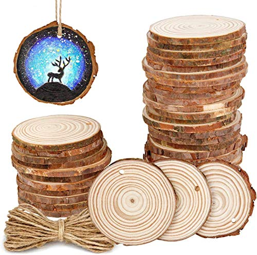 """30Pcs 2.4""""-2.8"""" Natural Wooden Slices,Colovis Unfinished Wood Circles with Holes Tree Bark Round Log Discs DIY Crafts Hanging Ornaments (30 Pcs, Natural Wood)"""