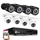 XVIM 8CH Security Surveillance System for Home H.264 1080P Lite Wired Video DVR Recorder and 8pcs 1080P HD Waterproof CCTV Camera System, 85FT Night Vision, Easy Remote Access(No Hard Drive)