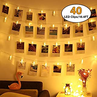 HEHUI 40 LED Photo Clips String Lights, Christmas Indoor Fairy String Lights for Hanging Photos Pictures Cards and Memos,Battery Powered, Ideal Gift for Dorms Bedroom Decoration(16.4 Ft, Warm White)
