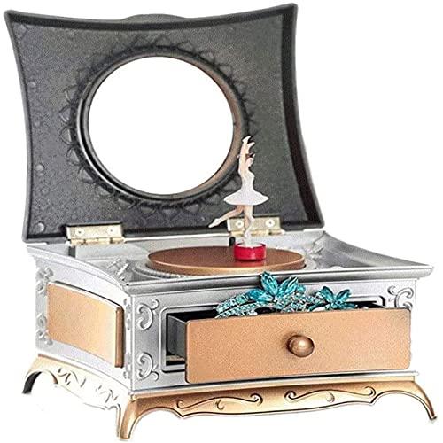 shandianniao Caja de música, Caja de música Joyería Musical Almacenamiento con 1 cajón de extracción, Caja de música clásica, Ballet agraciado Bailando Chicas (Color : A)