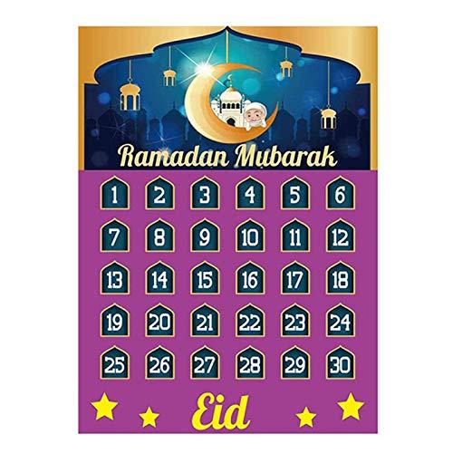 Shuliang Ramadan Mubarak Decorations,Calendario de cuenta regresiva de 2021 Eid Mubarak con 30 estrellas reutilizables, Ramadan Mubarak Decor Ramadan Calendario Actividades para niños