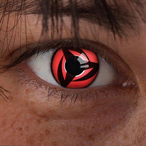 aricona N°628 farbige 12-Monats Kontaktlinsen ohne Stärke, 2 Stück, Mangekyou Sharingan