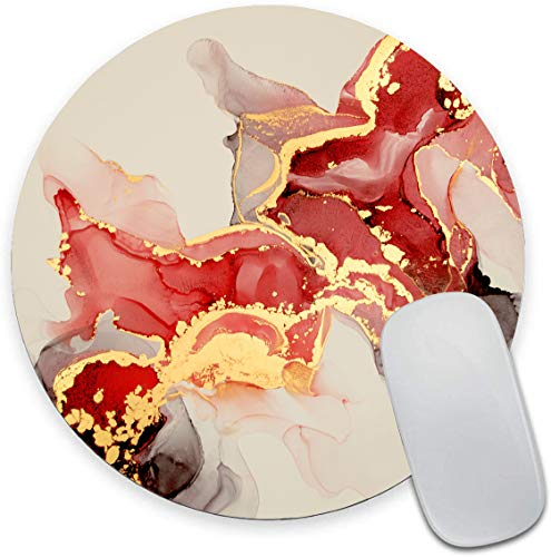 Round Mouse Pad, Marble Mouse Pad, Red and White Marbling Gaming Mouse Mat, Non-Slip Rubber Base Portable Mousepad, Circular Waterproof Mouse Pad, Small Size for Office Home Travel 7.9 x 0.12 Inch