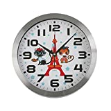 Versa 18560234 Reloj de pared Gato, Cocina, Ø30cm diámetro, Plástico, Blanco