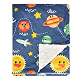 Baby Blanket for Boys Super Soft Double Layer Minky with Dotted Backing, Unisex Receiving Blanket with Solar System Multicolor Printed Blanket 30 x 40 Inch(75x100cm), Navy Blue