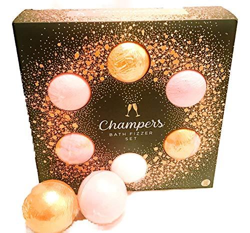 Champers luxe bad Fizzer Set | 6 bad bommen | Zwarte kers | Framboos | Aardbei | Blackberry | Lemongrass | Perzik