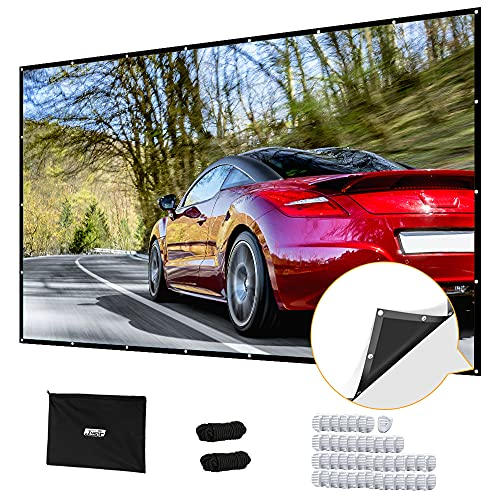 Projector Screen 180 inch, Upgraded PVC Black Backing 4K 16:9 HD Portable Projector Screen, Premium Indoor Outdoor Movie Screen Anti-Crease Projection Screen for Home Theater Backyard Movie.