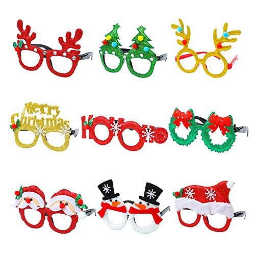 Lazz1on 9 Stück Weihnachten Brille Rahmen 3D Lustig Neuheit Party Requisiten Weihnachtsbaum Brillengestell Weihnachtsfeiern Foto Masken Accessoires Für Kinder und Erwachsene