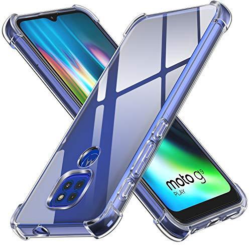 ivoler Funda para Motorola Moto G9 Play Moto E7 Plus Moto G9, Carcasa Protectora Antigolpes Transparente con Cojín Esquina Parachoques, Flexible Suave TPU Silicona Caso Delgada Anti-Choques Case