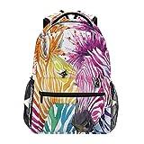 Zebra Horse Watercolor Art Backpack School Bookbag Rucksack Shoulder Book Bag for Boys Girls Women Travel Daypacks
