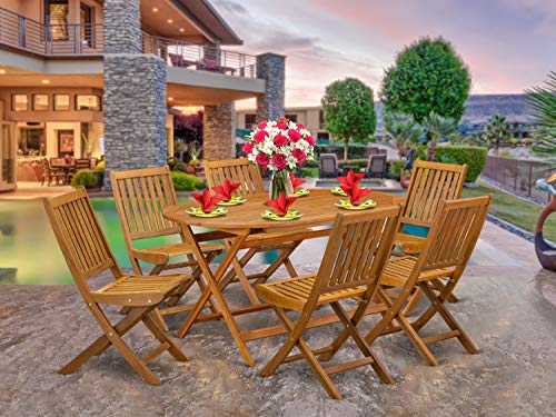 East West Furniture DIDK7CWNA 7-Piece Set-6 Outdoor Folding Chairs Slatted Back and Patio Table and Round Top with Wood 4 Legs-Natural Oil Finish