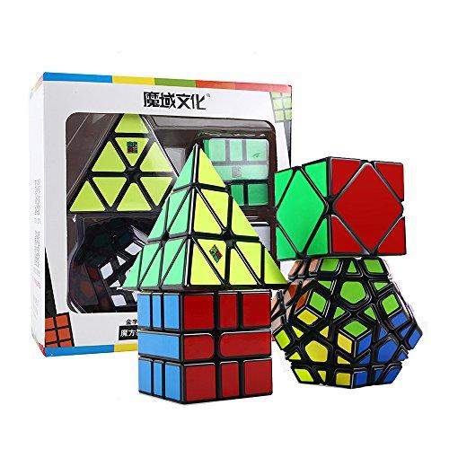HJXDtech® Moyu Paquete de 4 Cubos mágicos Paquete de Megaminx Pyraminx SQ-1 y Skewb Juego de Cubos mágicos Irregulares Muth de Velocidad Negra con Envoltura de Regalo