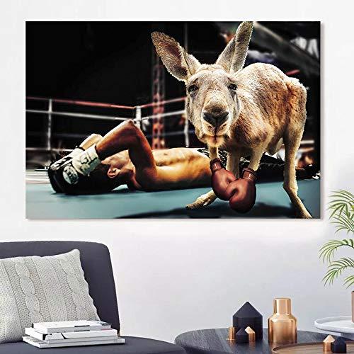 wZUN Pittura su Tela Animale Canguro Boxe Pittura Interessante Canguro Poster e Stampe per la Decorazione della Parete del Soggiorno 60x100 Senza Cornice