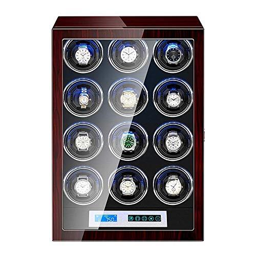 GLXLSBZ Caja enrolladora de Reloj automática 12 Pantalla LCD de Control táctil Almohadas Flexibles para Reloj con luz LED Pintura de Piano Exterior