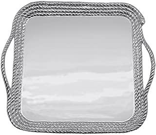 MARIPOSA Large Rope Platter, Silver