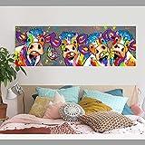 N / A Pintura sin Marco Dibujos Animados Vaca Lienzo Pintura Cuatro Vaca Animal póster decoración de la Sala de estarZGQ7455 40x120cm