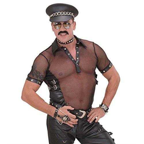 NET TOYS Hardrock Leder Mütze Biker Rocker Punker Ledermütze Cap Ledercap Lederhut Kostüm Zubehör Bikermütze Rockermütze schwarz Punkermütze