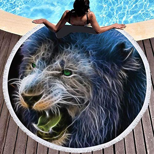Feiyue Summer Animals Lion Round Toalla de Playa Toallas de Microfibra Grandes Impreso Picnic de Viaje Yoga Estera de Playa Servilleta Toalla Playa 150Cm, Leones 1.150X150Cm