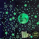 Hauserlin Wandsticker selbstklebend Leuchtsticker Wandtattoo,435 Leuchtsterne