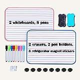 Yoassi 2 pizarras blancas para niños, borrado en seco, tamaño A4, tamaño grande, con 8 marcadores+8 almohadillas magnéticas+2 soportes para bolígrafos+2 gomas de borrar para aprender o trabajar