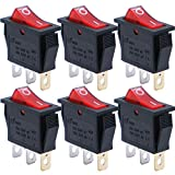 mxuteuk 6pcs AC110V Red Light Rocker Switch Illuminated Snap-in Toggle Switch Power SPST ON-Off 3 Pin AC 250V 6A 125V 10A, Use for Household Appliances MXU3-101NR