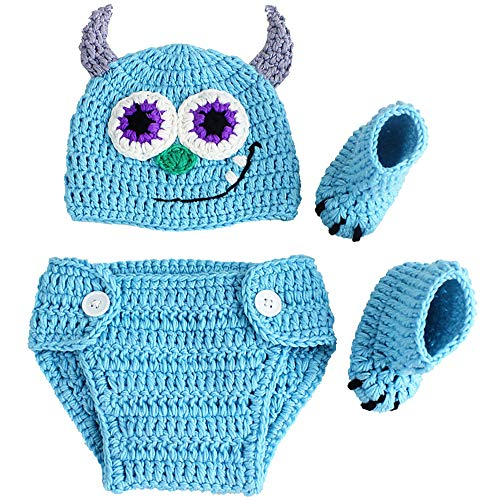 Newborn Photography Props Baby Boys Girls Handmade Knitted Outfits Crochet Photo Shoot Prop Hat Pants Set (Monster)