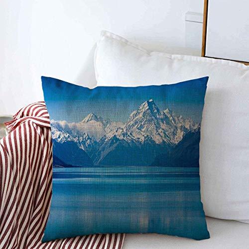 Fundas de cojín Primavera Agua azul Lago Tekapo Isla Sur Nueva Zelanda Naturaleza Pradera Parques de montaña Cojín de paisaje verde Funda de almohada Fundas de lino para la decoración del hogar de inv