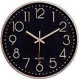 Foxtop 30 cm Modern Quartz Lautlos Wanduhr Schleichende Sekunde ohne Ticken (Schwarzes Zifferblatt, Roségold Rahmen, 12 Zoll, Arabisch Ziffer)