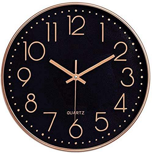 Foxtop 30 cm Modern Quartz Lautlos Wanduhr Schleichende Sekunde ohne Ticken ( Schwarzes Zifferblatt, Roségold Rahmen, 12 Zoll, Arabisch Ziffer)