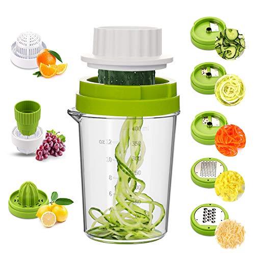 MENNYO Spiralschneider Gemüse 8 in 1, Gemüseschneider Spaghetti für Gemüsespaghetti, Zucchini, Karotten & Zwiebeln, Gemüsehobel mit Zitronenpresse Handpresse Zitruspresse für Zitronen,Orangen