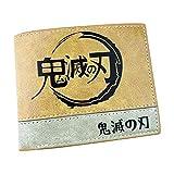 WANHONGYUE Demon Slayer: Kimetsu no Yaiba Anime Billetera de Cuero Artificial Cartera Corta Portatarjetas para Hombre / 1