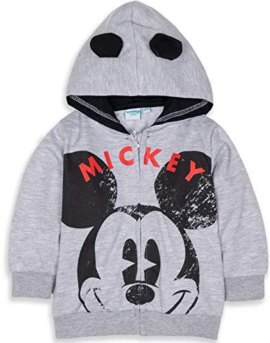 Disney Mickey ou Minnie Mouse Sweat à capuche en polaire chaud avec oreilles et grand visage de personnage, 3 mois – 24 mois - Gris - 3-6 mois (taille fabricant:6 mois)