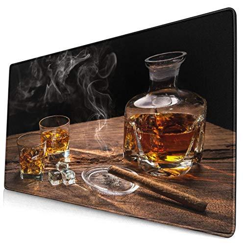 HUAYEXI Alfombrilla Gaming,Vaso de Whisky con cigarro Ahumado sobre Mesa de Madera,con Base de Goma Antideslizante,750×400×3mm
