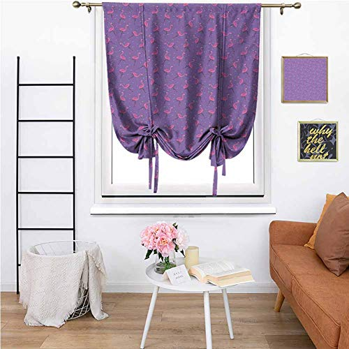 Mannwarehouse Flamingo Tie-Up Window Curtain, Dotted Purple Background with Cute Pink Exotic Birds Kids Girls Design Curtain Decorative Window Curtain for Living Room 23