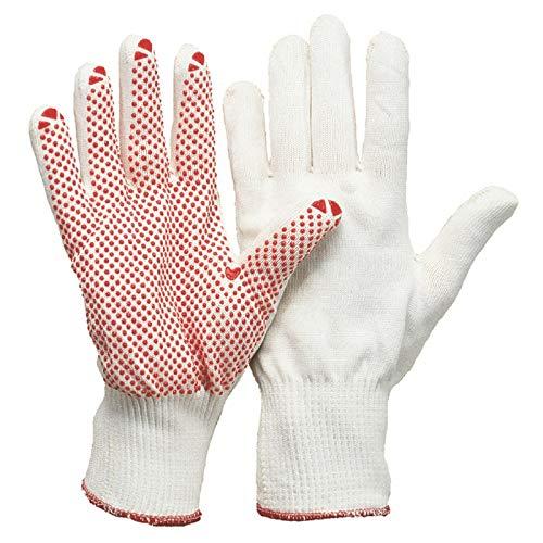 1 Paar Feinstrick-Montage-Handschuhe mit Noppen - Polyamid-Baumwolle - weiß/rot - Größe 9