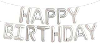 House of Quirk Premium Blue Happy Birthday Balloons Banner with Durable Foil 16 Inch Mylar 13 Individual Balloon Letters Ultimate Birthday Party Decoration Supplies - Silver