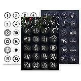 Adventskalender Aufkleber Set (Zahlen 1-24) - 3 x 24 Sticker für Kalender zum selber basteln für Weihnachten - Adventskalenderzahlen Etiketten selbstklebend - Zahlenaufkleber - Nummern...