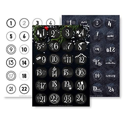 Adventskalender Aufkleber Set (Zahlen 1-24) - 3 x 24 Sticker für Kalender zum selber basteln für Weihnachten - Adventskalenderzahlen Etiketten selbstklebend - Zahlenaufkleber - Nummern Papiertüten