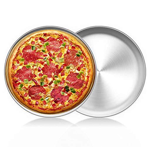 LZYMSZ 2PC in acciaio inox per cottura al forno, teglia rotonda per pizza, teglia in alluminio antiaderente per ristoranti e pizza fatta in casa, lavabile in lavastoviglie (30CM)