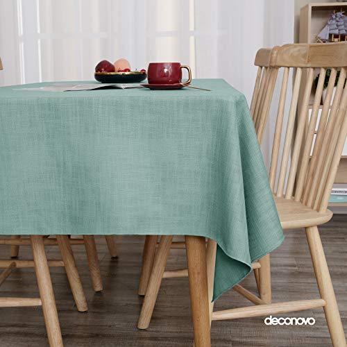 Deconovo Tischdecke Tischdecke Lotuseffekt Tischtuch Wasserabweisend Leinenoptik 137x200 cm Türkis