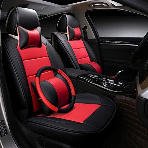 Siège de voiture couvre bref PU cuir universel fit 5 sièges voiture avec 2 coussins de taille 2 coussins de cou quatre saisons universel,Red