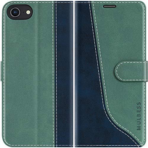 Mulbess Handyhülle für iPhone SE 2020 Hülle, Handy iPhone 8 Hülle, Leder Flip Etui Handytasche Schutzhülle für iPhone 8/7 / SE 2020 Hülle, Mint Grün