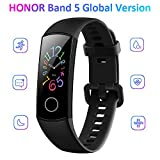 Docooler Honor Band 5 Smart Bracelet Watch Faces Smart Fitness Timer Intelligent Sleep Data Real-Time Heart Rate Monitoring 5ATM Waterproof Swim Stroke Recognition BT 4.2 Wristwatch (Black)