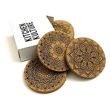 Cork Coasters for Drinks by Kitchen Kulture (Set of 8) - MANDALA designs, Absorbent, Protects Furniture, Bar Size, Eco material, Perfect Holiday Gift - Round 4 inches
