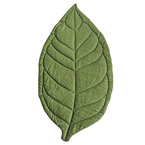 Terzsl Teppich für Neugeborene, Blätterform, weicher Krabbelteppich, Spielteppich, Kinderzimmer-Dekoration, Grün
