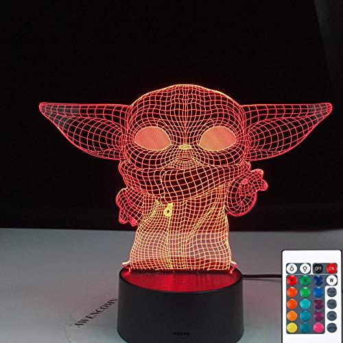 Lámpara De Ilusión 3D Luz De Noche Led Mini Yoda Baby Yoda Meme Figura Para Niños Decoración De La Habitación Del Niño Lámpara De Mesa Bebé Niños Cumpleaños Regalos De Vacaciones