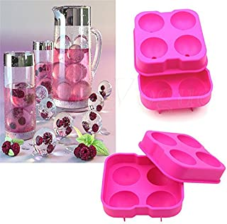 4 Hole Ice Cream Ball Maker Whiskey Sphere Big Round Ball Silicone Ice Cube Ball Ice Brick Cube Maker Bar Accessories