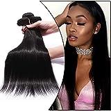 3 Unidades Extensiones de Cabello Humano Cortina Cosida Brasileña Liso Pelo Natural Hair Bundle-55cm+60cm+65m, 300g, 1B Negro Natural